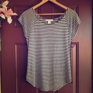 White House Black Market Stripe Top Chiffon Back